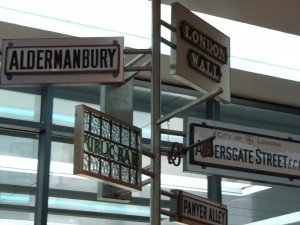 Signposts at the museum of London